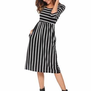 Black and White Striped Midi Dress